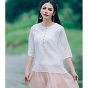 Mujer Simple Casual/Diario Camisa,Escote Redondo Un Color Media Manga Lino