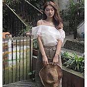 Mujer Simple Casual/Diario Camiseta,Escote Barco Un Color Manga Corta Algodón