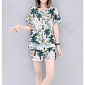 レディース カジュアル/普段着 夏 Tシャツ(21) パンツ スーツ,シンプル ラウンドネック リーフ柄 半袖