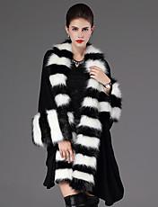 Cappotto di pelliccia Da donna Casual Inverno Moda città,A strisce Colletto alla coreana Pelliccia sintetica Nero / Viola Manica lunga