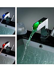 浴室用水栓 - 現代風 - LED / 滝状吐水タイプ - 真鍮 (クロム)