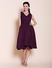 lan ting bride knee-lengthシフォンウエディングドレス - a-line / princess v-neck plus size / petite