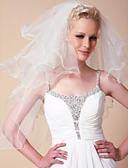 čtyřstupňový závoje loketní svatební s perleťovým okraji lemem