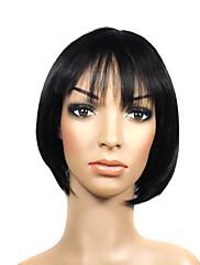 キャップレスショート高品質な合成黒い美しい髪のかつら