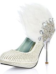 Luxusní koženka horní stiletto pata uzavřená prst s drahokamu boty péřové svatební