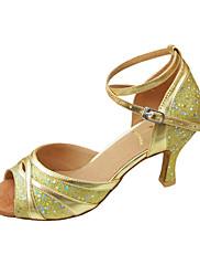 Non Přizpůsobitelné - Dámské - Taneční boty - Latina / Taneční sál - Koženka / Flitry - Jehlový podpatek - Zlatá