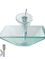 Victory 長方形 クリア 強化ガラス洗面ボールと滝状吐水水栓 取り付けリングと排水ドレイン付き(0917-VT4047)