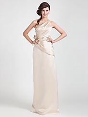 クリアランス!シース/列の片方の肩床長さのサテンの花嫁介添人ドレス
