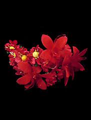 červená satén a papírové květiny čelenka