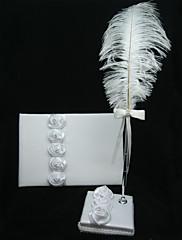 bílého saténu růže návštěvní knihu a pero set s peřím