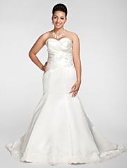 Lanting Bride® トランペット/マーメイド 小柄 / 大きいサイズ ウェディングドレス - エレガント/ゴージャス チャペルトレーン スイートハート サテン とともに