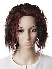 capless přírodní vzhled červené víno vlasy paruka