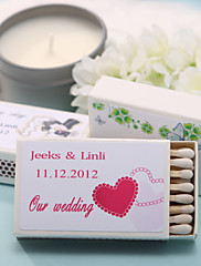 Wedding Décor Personalized Matchboxes - Pink Double Hearts (Set of 12)