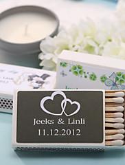 Wedding Décor Personalized Matchboxes - Double Hearts (Set of 12)