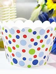 カラフルな水玉模様のカップケーキラッパー(12個セット)