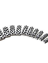 70ks bílé a černé zkřížené francouzské plastové tipy na nehty slovy