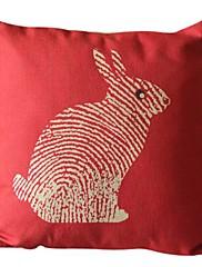 ウサギのコットン/リネン装飾枕カバー