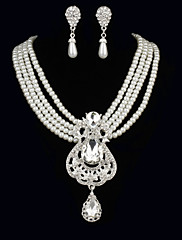 キュービックジルコニア女性のジュエリーが付いている優雅な真珠のネックレス、イヤリングを含むセット