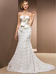 LAN TING BRIDE Sirena kroj Vjenčanica - Klasično i svevremensko Glamurozno i izražajno Vintage inspirirano Dugi šlep Bez naramenicaŠifon