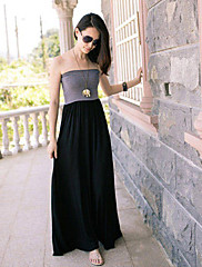bljy černá maxi barevný blok šaty bez ramínek
