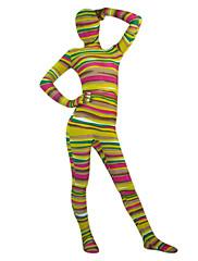 multicolor pruhované spandex lycra celého těla Zentai