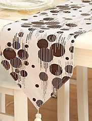 クラシックプリントブラウンのポルカドットポリエステル綿混紡のテーブルランナー