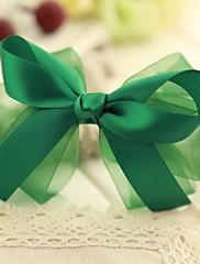 女性の優雅な緑のガルーンボウヘアクリップ