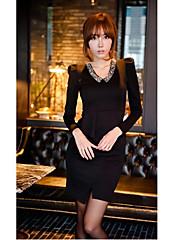 černé korálky límec peplum slim fit šaty