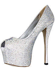 Nádherná saténová Stiletto Heel Peep Toe s botami Rhinestone Svatební / večer