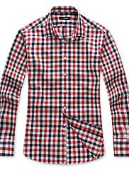Pánské Pléd Denní nošení Dlouhý rukáv Bavlna Košile Červená