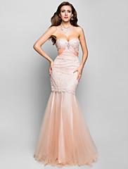 トランペット/マーメイド恋人の床長さのレースのイブニングドレス