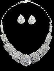 銀合金のセットラインストーンファッションネックレスとイヤリング