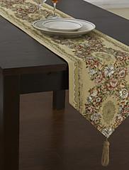 国ポリエステル綿混紡ジャガード緑の花のテーブルランナー