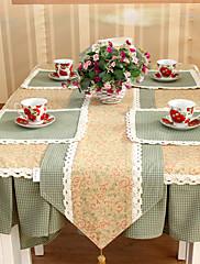 カントリーポリエステルコットンブレンドジャカード赤い花のテーブルクロス