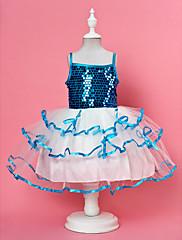 plesové šaty špagety popruh kolena flitry organza a satén květin šaty