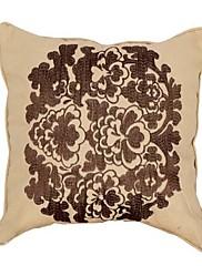 """18 """"スクエアカントリー花柄刺繍コットン装飾枕カバー"""