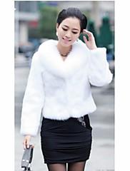 CHAOLIU女性の毛皮の襟フェイクファーコート