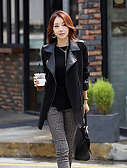 Dream na Ženy Elegantní Slim s dlouhým rukávem tvídový plášť (černý)
