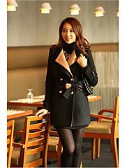 Dream Ženy Slim zahustíme dvouřadové Tweed Coat (Black)