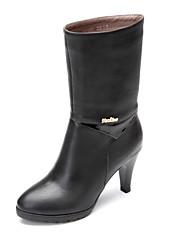 女性-アウトドア オフィス カジュアル-レザー-スティレットヒール-ファッションブーツブラック ブラウン