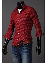 メンズコットンチェック柄長袖シャツ