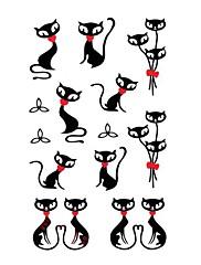 5 ks Černé kočky Vodotěsné Dočasné tetování (10,5 cm * 20,5 cm) HM575