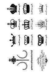 5 ks Crown Vodotěsné Dočasné tetování (10,5 cm * 20,5 cm) HM596
