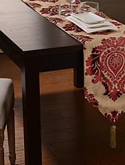 ヨーロピアンスタイルバーガンディ高密度ジャカードテーブルランナー
