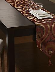 ヨーロピアンスタイルの黄金のポリシルク赤ジャカードテーブルランナー