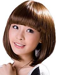 Capless krátké kudrnaté vlasy Světle hnědá Stylová Synthetic Full Bang Paruky