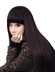 Žena Long Capless rovné vlasy Světle hnědá syntetická Plný Bang Paruky