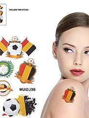 2ks Fotbal vzor Belgie Světový pohár Vodotěsné tetování těla Dočasné Glitter Samolepky