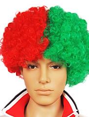 キャップレスサッカーファンパーティーウィッグ(ポルトガル国旗の色)
