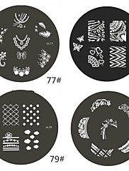 1 ks M Series Zaoblený Abstraktní Design Nail Art Stamp Lisování obrázku Šablona Plate No.77-80 (Smíšený vzor)